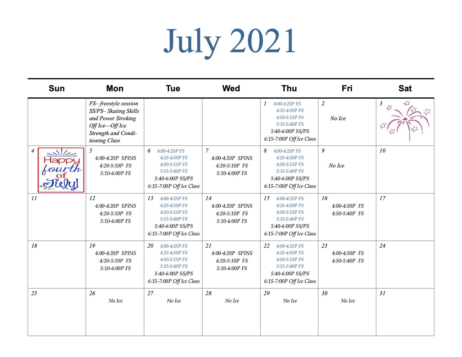 2021 NAFSC July Calendar