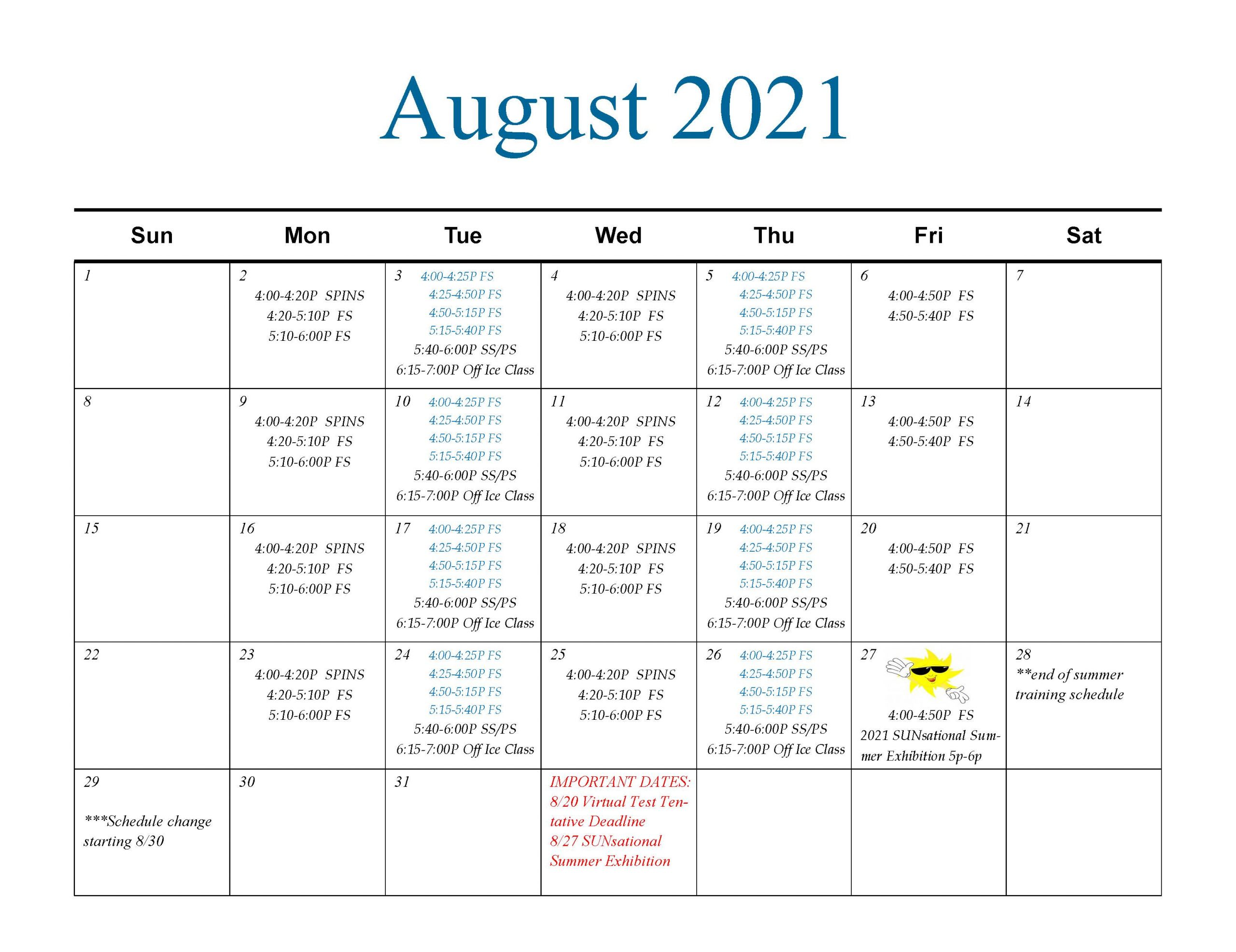 2021 NAFSC August Calendar
